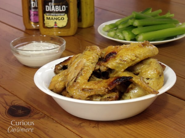 Mango Mustard Crock Pot Wings from Curious Cuisiniere with @ElDiabloMustard #10DaysofTailgate