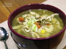 Leek and Corn Chicken Noodle Soup from Curious Cuisiniere
