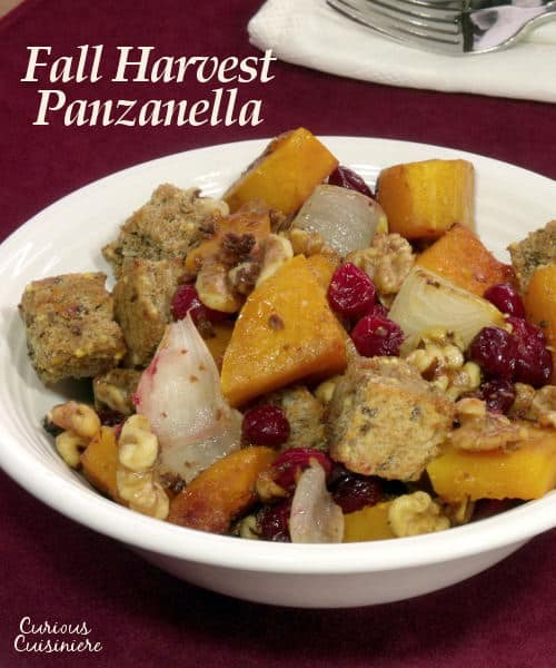 Roasted butternut squash and nutty grain bread make this spin on a Tuscan Panzanella a carnival of fall harvest flavors. | www.curiouscuisiniere.com