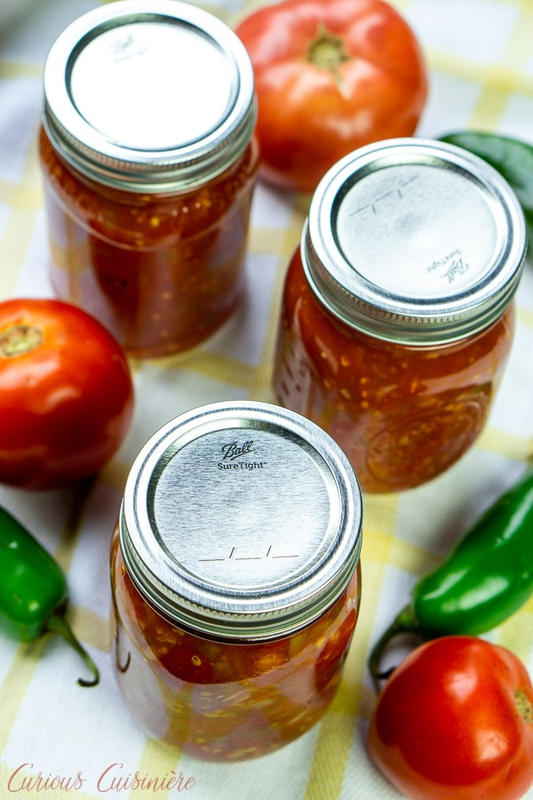 Salsa in canning jars