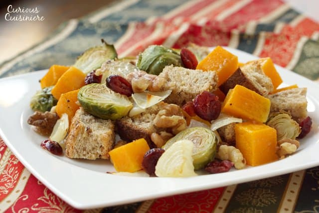 Italian Fall Butternut Squash Panzanella Bread Salad on a Fall colored runner.