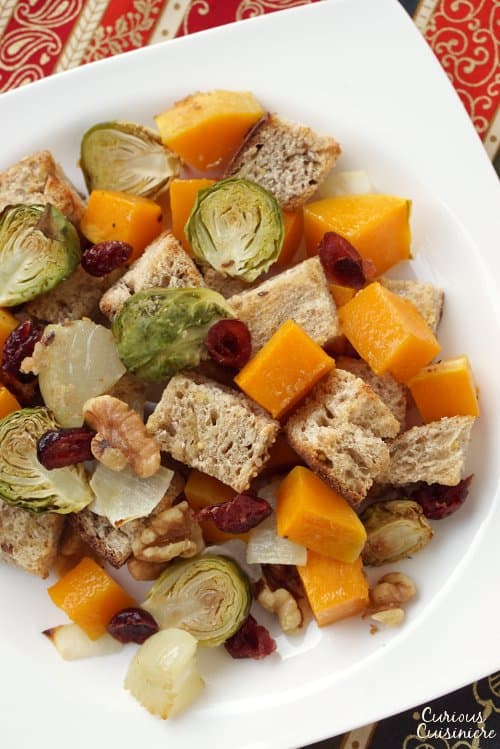 Italian Fall Harvest Panzanella Salad with cranberries and toasted walnuts.