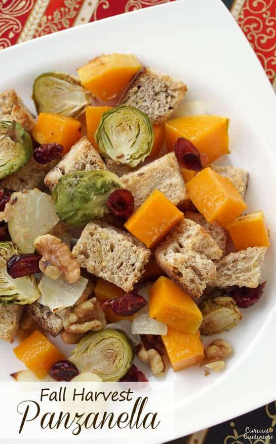 Italian Fall Harvest Panzanella Salad with butternut squash and Brussels sprouts.