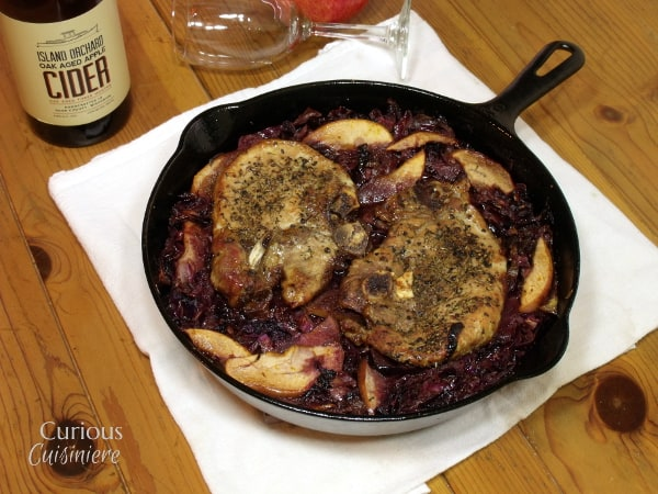 Apple Cider Pork with Red Cabbage from Curious Cuisiniere #winePW