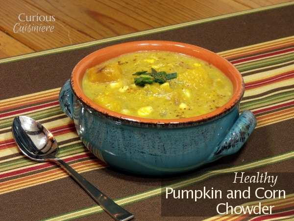 Classic New England Chowder takes on a healthy, fall spin in this Pumpkin Corn Chowder recipe.  | www.CuriousCuisiniere.com