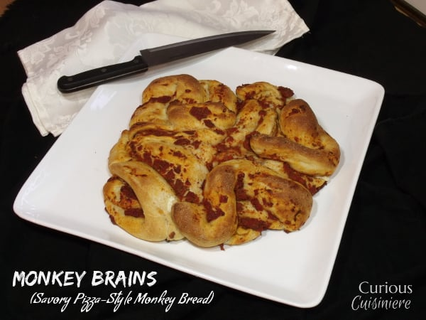 Monkey Brains (Pizza Monkey Bread) from Curious Cuisiniere #Hallween