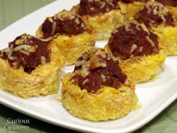 Spaghetti Squash Nests with Meatballs #SundaySupper