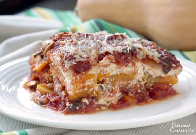 This Butternut Squash Lasagna gives noodleless lasagna a whole new fall twist! Try our tasty, vegetarian recipe today! | www.CuriousCuisiniere.com