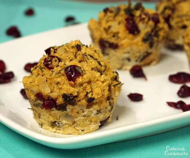 Our Cranberry Cornbread Stuffing Muffins brings the sweet flavors of cranberries and cornbread together with light chipotle smokiness.  | www.CuriousCuisiniere.com