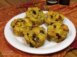 Cranberry Cornbread Stuffing Muffins from Curious Cuisiniere #Thanksgiving
