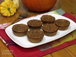 Lightened Up Mini Pumpkin Pies from Curious Cuisiniere #thanksgiving #holidaybaking
