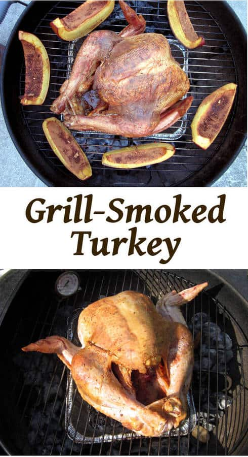 Smokey and tender turkey on a charcoal grill! Perfect for a show stopping holiday dinner! | Curious Cuisiniere
