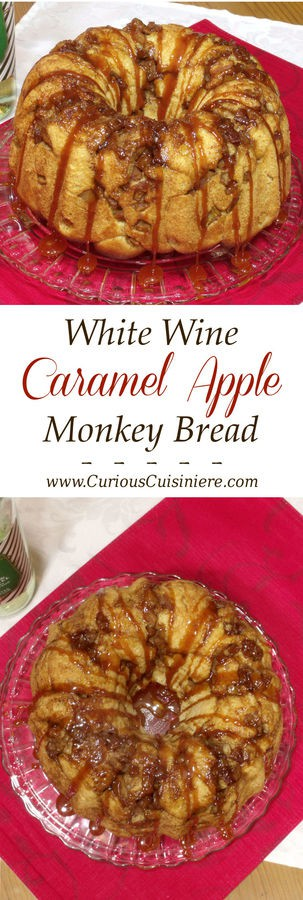 Not just any caramel, a white wine caramel sauce takes this cinnamon and apple monkey bread to a whole new level. It is guaranteed to be the perfect recipe for a holiday brunch or dessert! | www.CuriousCuisiniere.com