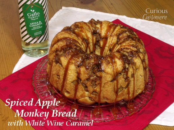 Spiced Apple Monkey Bread with White Wine Caramel from Curious Cuisiniere #SundaySupper #HolidayBaking