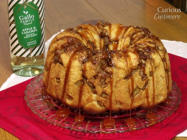 Spiced Apple Monkey Bread with White Wine Caramel Sauce