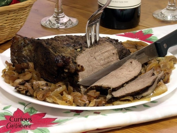 Slow Cooker Caramelized Mushroom Sirloin Tip Roast