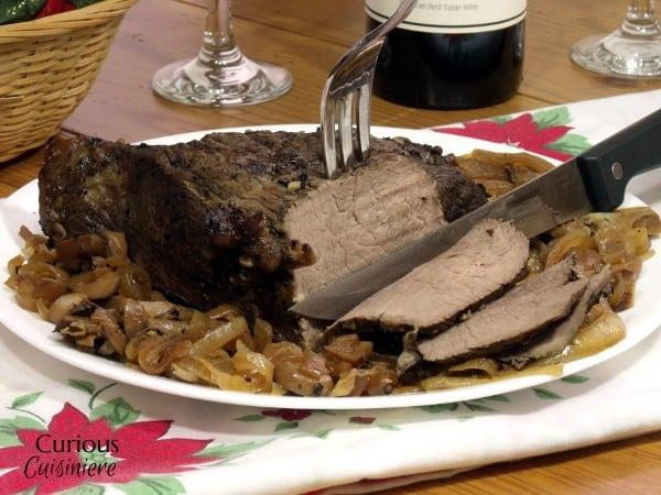 Slow Cooker Caramelized Mushroom Sirloin Tip Roast