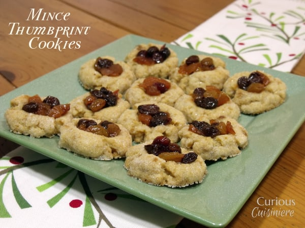 These Thumbprint Mincemeat Cookies use homemade fruit mincemeat to bring a fun new twist to your holiday cookie platter. -  from Curious Cuisiniere