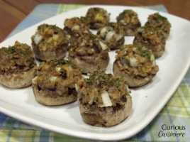 Onion and Swiss Stuffed Mushrooms from Curious Cuisiniere