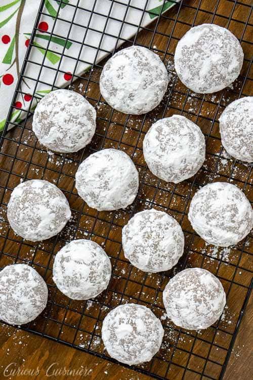 German Pfeffernusse Spice Cookies on a baking rack
