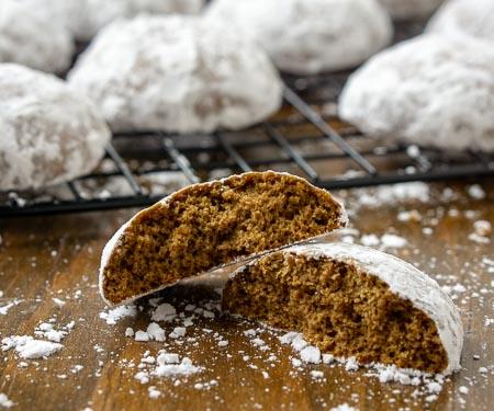Inside shot of German Pfeffernusse Cookies