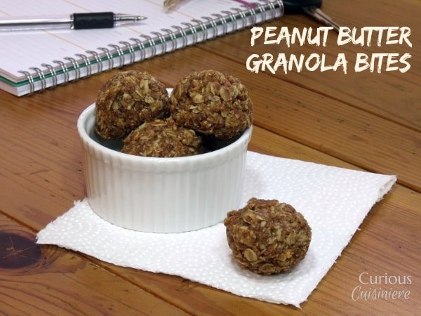 Peanut Butter Granola Bites are a quick and easy way to keep your energy level going strong all day long.  -- Curious Cuisiniere