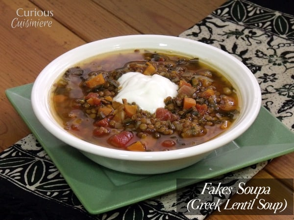 Fakes Soupa (Greek Lentil Soup) from Curious Cuisiniere
