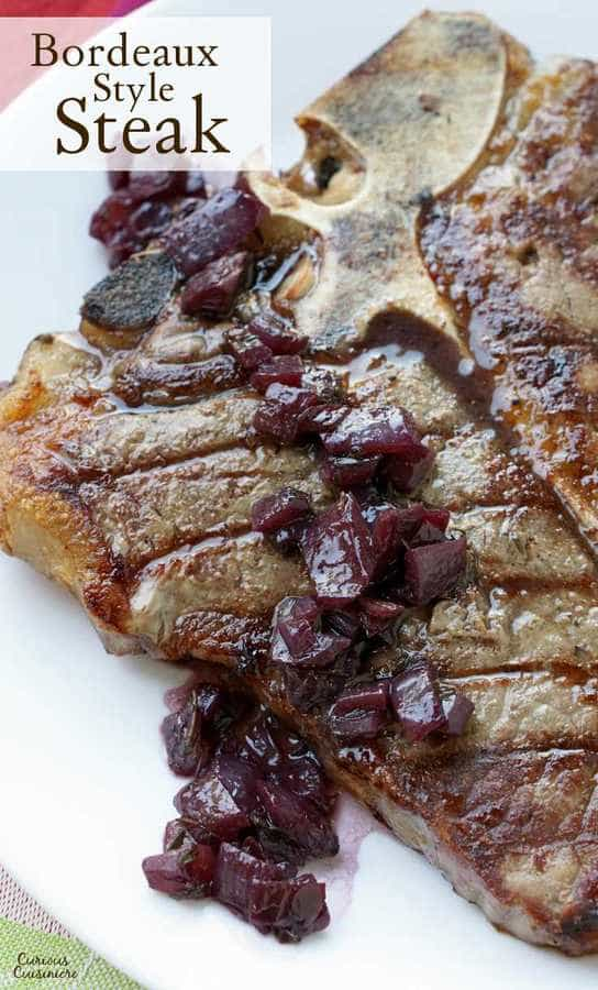 Onion and red wine sauce over a grilled steak.