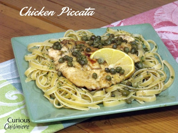 Lemon Chicken Piccata is an easy and flavorful dish that is the perfect recipe for a quick weeknight dinner. | www.CuriousCuisiniere.com