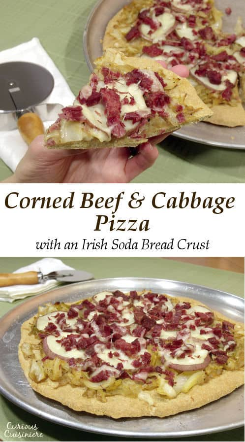 A hand-held spin on the classic corned beef and cabbage dinner, Corned Beef and Cabbage Pizza layers all the classic fixings atop a Soda Bread crust. | www.CuriousCuisiniere.com