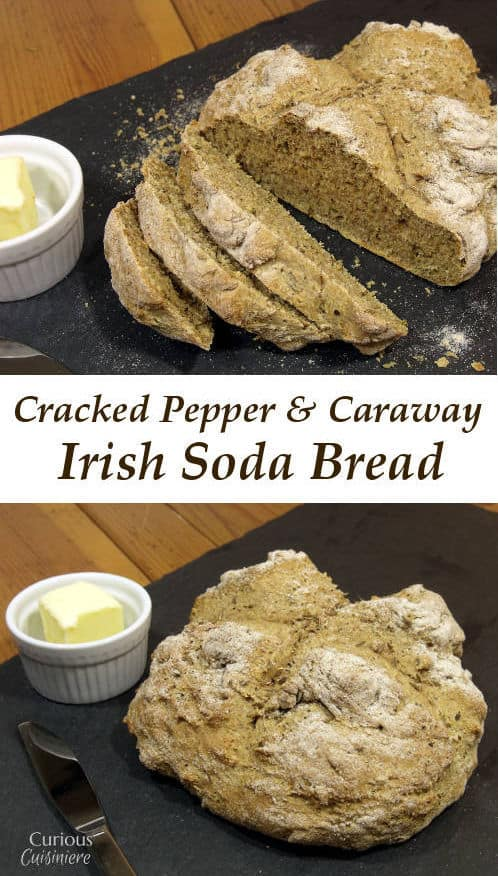This Cracked Pepper Caraway Irish Soda Bread recipe creates a savory Irish soda bread that is quick to make and perfect for pairing with a hearty stew. | Curious Cuisiniere