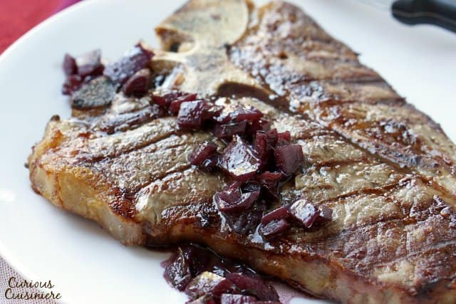 Grilled steak with red wine.