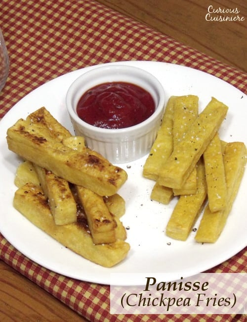 Delicately crisp with a smooth interior, these chickpea fries might become your new favorite snack! | www.CuriousCuisiniere.com