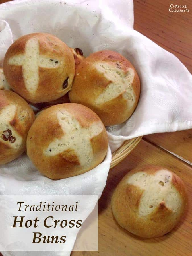 Spiced, fruit-studded Hot Cross Buns are a delicious Easter treat and have quite a bit of folklore associated with them. | Curious Cuisiniere