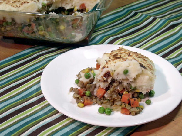 A hearty and flavorful take on an Irish classic, this Vegetarian Shepherd's Pie is filled with lentils and other vegetables rather than beef or lamb. | www.CuriousCuisiniere.com