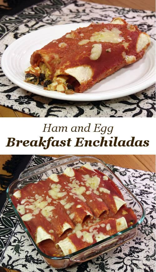 They may be called Breakfast Enchiladas, but these little bundles of eggs, ham, corn, and beans and great for breakfast or dinner! | www.CuriousCuisiniere.com