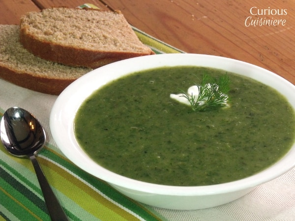 This green soup is traditionally served on Holy Thursday. With a mix of fresh herbs and greens, it is Herb Soup perfect for spring. | Curious Cuisiniere