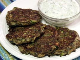 Turkish Zucchini Fritters with Yogurt Cacik from Curious Cuisiniere