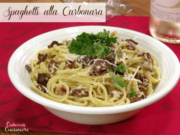 There's nothing not to love about bacon, cheese, and pasta that make up this classic and easy Spaghetti alla Carbonara recipe. | Curious Cuisiniere
