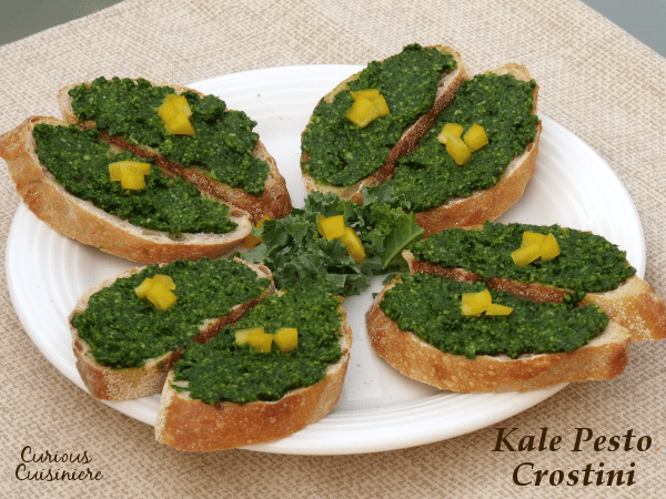 Kale Pesto Crostini | Curious Cuisiniere