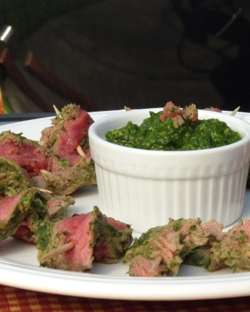 Nicaraguan Steak Skewers with Chimichurri |Curious Cuisiniere