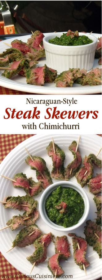 Nicaraguan Steak Skewers with Chimichurri |www.CuriousCuisiniere.com #BBQ #summer #grilling