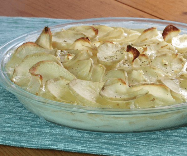A creamy potato bake that makes for the perfect, elegant, and easy side dish to any holiday meal.