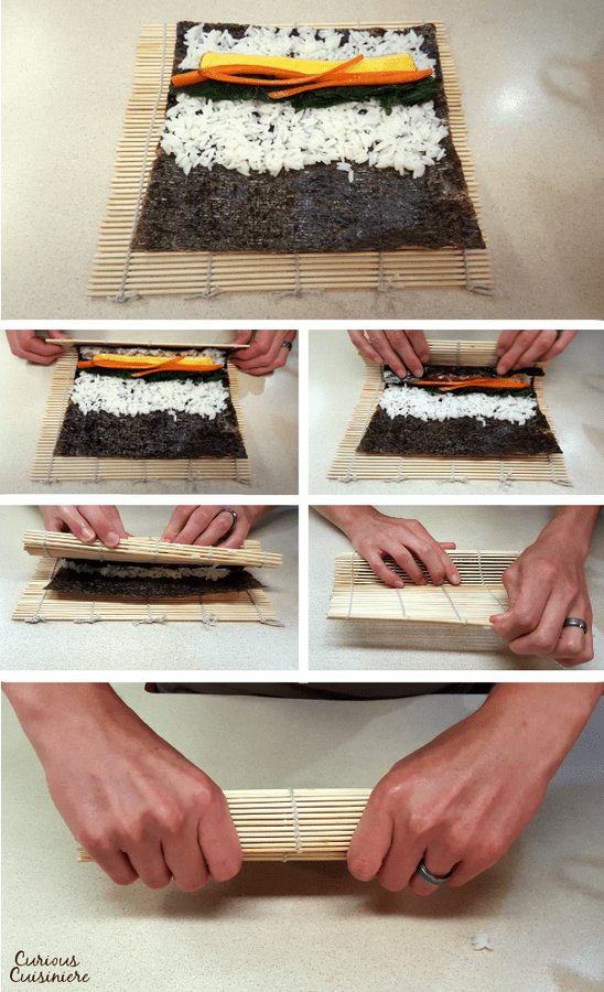 Rolling sushi and Korean kimbap is easy with a rolling mat and a little practice!