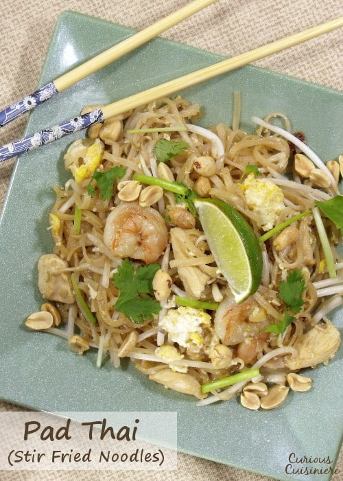 These quick and easy stir fried noodles are bursting with shrimp, chicken, bean sprouts, and eggs.