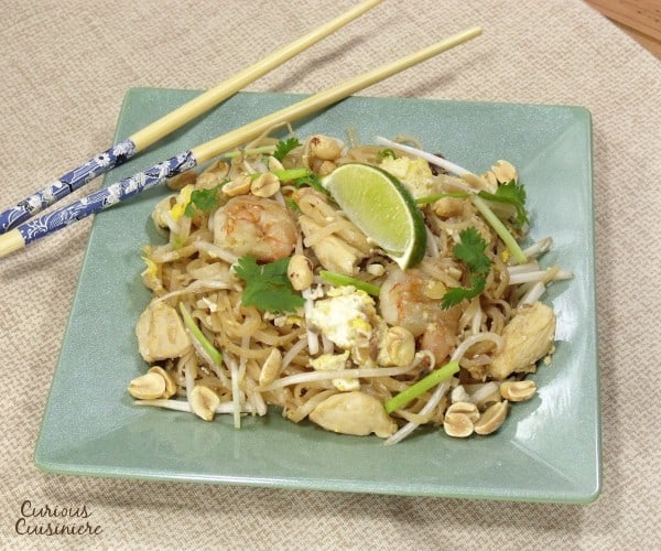 Add your favorite protein, this quick and easy Pad Thai recipe makes this Thai street food simple to make at home!   www.CuriousCuisiniere