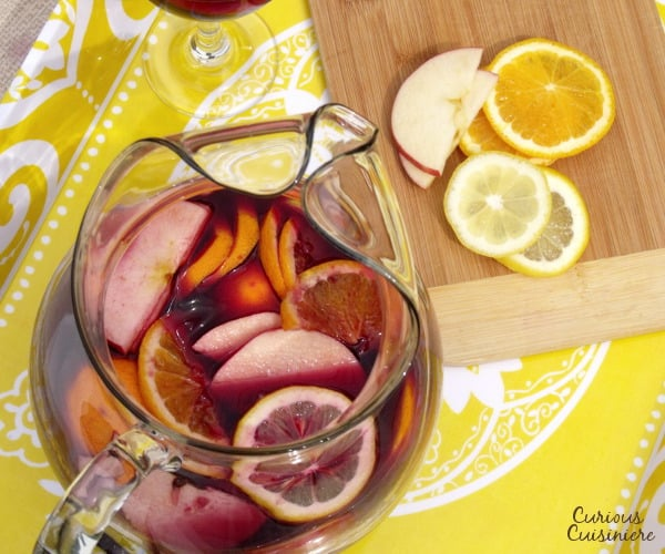 Spanish red wine meets oranges, apples, lemons, and brandy in this classic Spanish red sangria, perfect for any summer party or cookout.