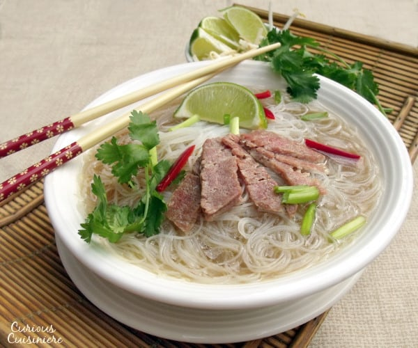 Spiced beef broth, rice noodles, and thin slices of beef come together in this comforting Asian dish.