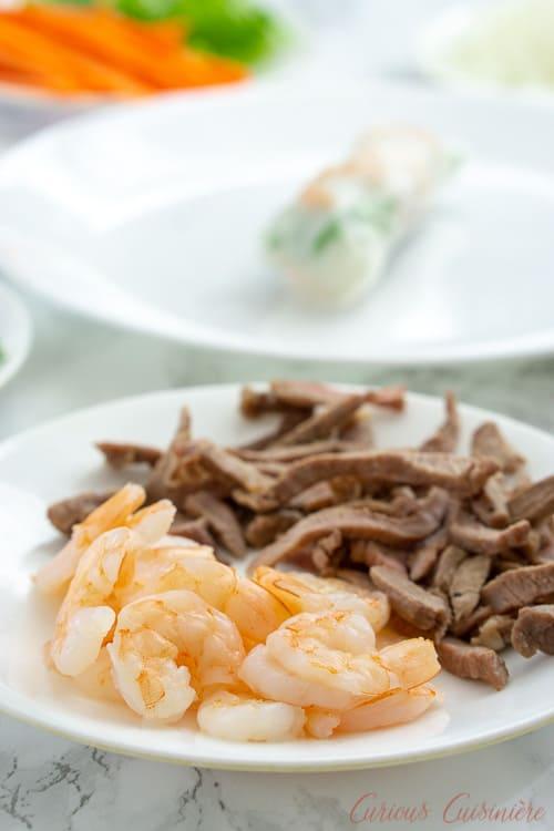 Shrimp and cooked pork for Vietnamese fresh spring rolls.