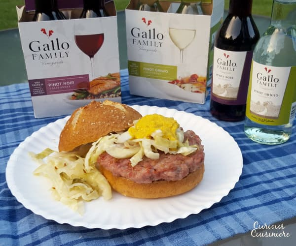 The flavor of the brat, the comfort of a burger. Perfect for your tailgate or any cookout! | www.curiouscuisiniere.com